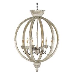 Posay Ornate White Wash Gustavian 6 Light Round Ceiling Pendant | CC-9135