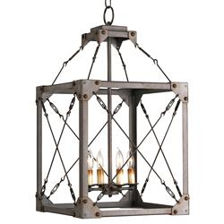 Salvage Metal Box Industrial Loft Lantern 4 Light Pendant Fixture