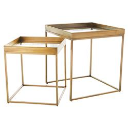 Colin Modern Square Tempered Glass Metal Nesting Side Table - Brass - Set of 2