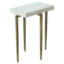 Angel Modern Classic Rectangular White Marble Antique Gold Metal Side Table