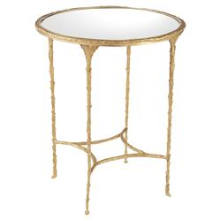 Ada Modern Classic Mirror Top Textured Gold Metal Round Side Table