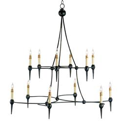 Pyrena Industrial Loft Black Iron Interlock Spike Chandelier