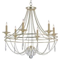 Silver Faceted Crystal Swag 6 Light Elegant Chandelier