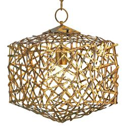 Mid Century Modern Gold Leaf Art Metal Abstract Cube Pendant | CC-9168