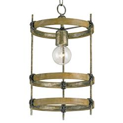 3 Metal Ring Single Bulb Rustic Bronze Modern Pendant