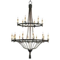 Grand Wrought Iron Double Tiered 18 Light Chandelier | CC-9174