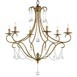 Traditional Gold Leaf Crystal Swag 6 Light Chandelier