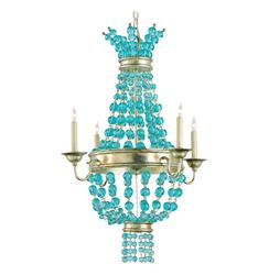 Lea Aqua Blue Glass Bead Champagne Leaf 4 Light Chandelier