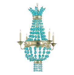 Lea Aqua Blue Glass Bead Champagne Leaf 4 Light Chandelier