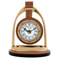Eichholtz Modern Classic Bailey Equestrian Tan Leather Gold Metal Table Clock