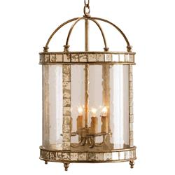 Corsica Glass Cylinder Antique Mirror Tile 4 Light Pendant Lamp