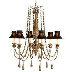 Traditional Beaded Swag Shaded 6 Light Chandelier