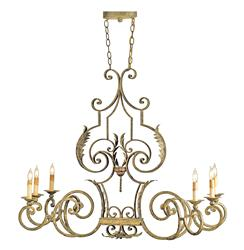Parisian Intricate Antique Gold Iron 6 Light Chandelier