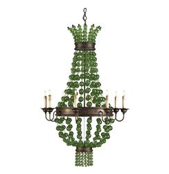 Green Goddess Glass Orb Traditional 8 Light Chandelier
