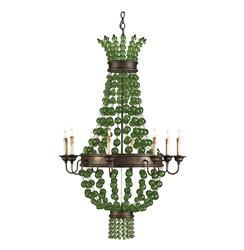 Green Goddess Glass Orb Traditional 8 Light Chandelier