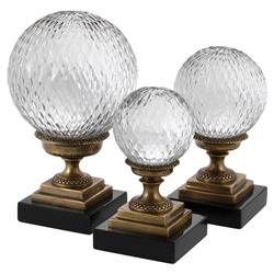 Eichholtz Modern Classic  Set of 3 Divani Clear Glass Ball Gold Footed Decors