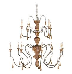 Manor Hand carved Wood Grand 12 Light Chandelier