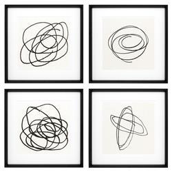 Eichholtz Modern Classic Black & White Abstract Wall Art Prints - II - Set of 4