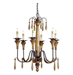 Grand Vintage Style Gold Leaf 6 Light Chandelier