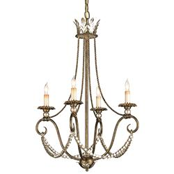 Paulina Vintage Inspired Crystal Swag 4 Light Chandelier