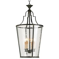 Goshen Seeded Glass Wrought 4 Light Iron Bucket Lantern Pendant