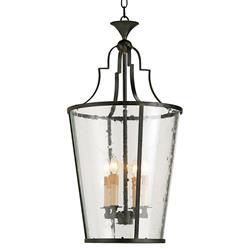 Goshen Seeded Glass Wrought 4 Light Iron Bucket Lantern Pendant