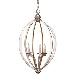 Bella Lotta Petite Silver Leaf Oval 3 Light Chandelier
