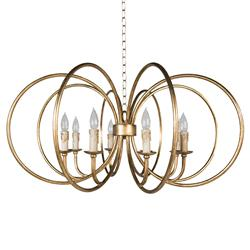 Ava Modern Classic Gold Open Frame Resin Candle 8 Ring Chandelier
