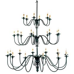 Grand 3 Tier Black Iron Shaker 27 Light Chandelier