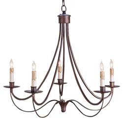 Hand Rubbed Bronze Wrought Iron Curved 5 Light Chandelier | CC-9540