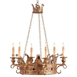 Henrico Crown Gold Leaf 6 Light Chandelier | CC-9547
