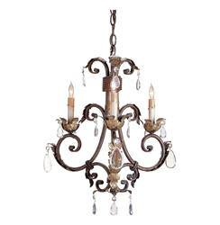 Arabesque Petite Crystal Droplet 3 Light Traditional Chandelier