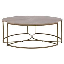 Zachary Modern Classic Cerused Oak Top Gold Metal Base Round Coffee Table