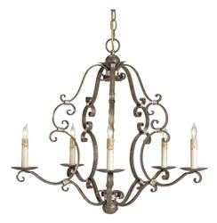 Ambert Traditional Scrolled Iron 5 Light Chandelier