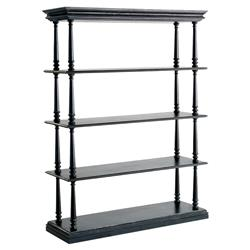 Zane French Country Black Pine Wood 4-Shelf Bookcase
