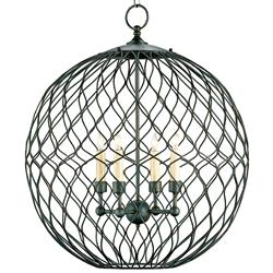 Wrought Iron Petite 4 Light Ball Chandelier