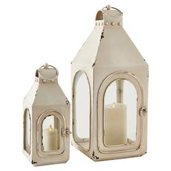 Rhett Coastal Beach Antique White Nautical Lanterns - Set of 2