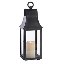 Elise French Country Washed Black Outdoor Lantern - Small