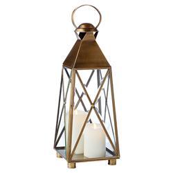 Miguel Coastal Beach Antique Brass Nautical Lantern - Small