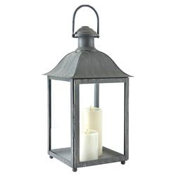 Leila French Country Washed Grey Metal Outdoor Lantern - Small