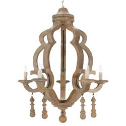 Arthur French Country Whitewash Curvy Wood 5-light Chandelier