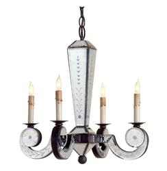 Maggiore Venetian Mirror Petite 4 Light Chandelier