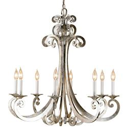 Contemporary Silver Scroll 8 Light Chandelier
