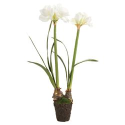 """Kyle French Country 37"""" Double Amaryllis Drop In White Faux Floral"""