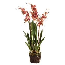 "Lara French Country 32"" Red Dancing Orchid Drop In Faux Floral"