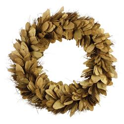 Annie Rustic Lodge Handcrafted Dried Yellow Pear Leaves and Thatch Wreath