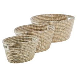 Maia French Country Hand-Woven Rivergrass Oval Handled Baskets - Set of 3