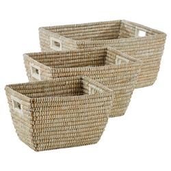 Maia French Country Woven Rivergrass Rectangular Handled Baskets - Set of 3