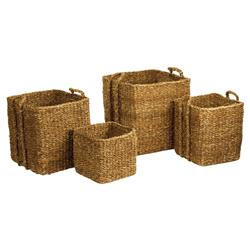 Zuri French Country Woven Square Seagrass Apple Baskets - Set of 4