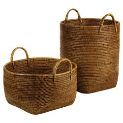 Paul French Country Rattan Storage Floor Baskets - Set of 2